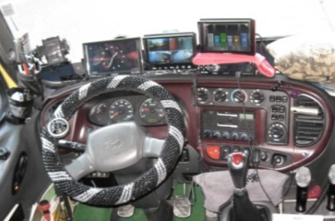 An image of actual cockpit space in bus.