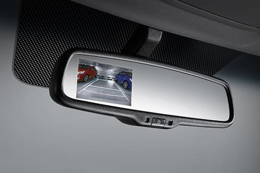Rear camera display system on the rear view mirror