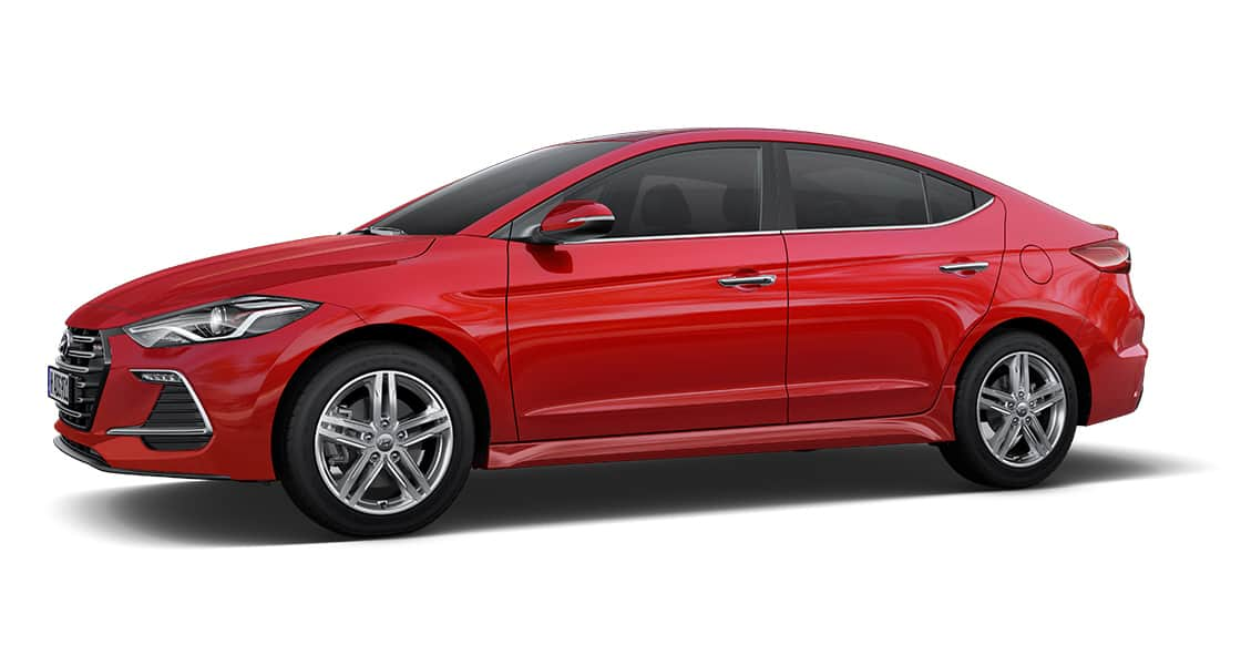 Side view of red Elantra Sport