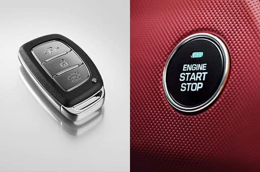 Smart key on the left and engine start and stop button on the right