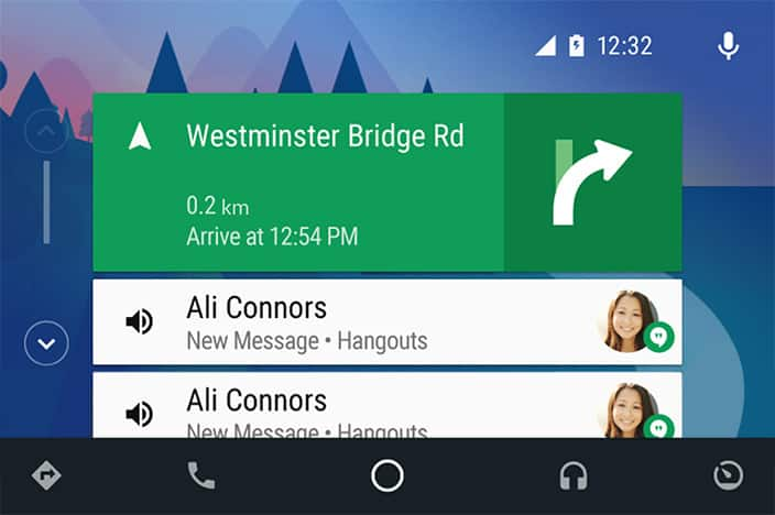 Android auto navigation screen
