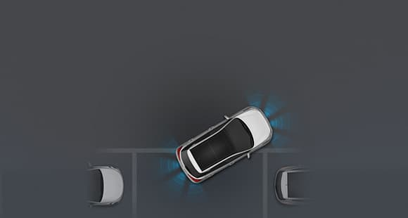Top view of white i20 parallel parking with front and rear parking assist system