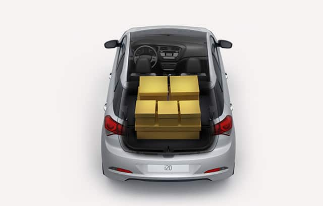 Top view of trunk space with many boxes loaded