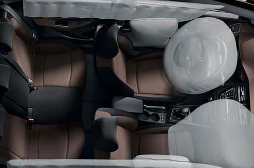Top view of interior with airbag system simulated