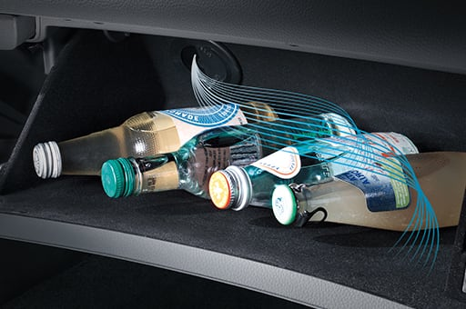 Drink bottles stored in the glove box