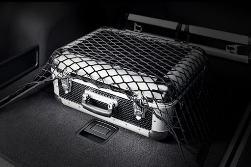 Luggage stored under the luggage net