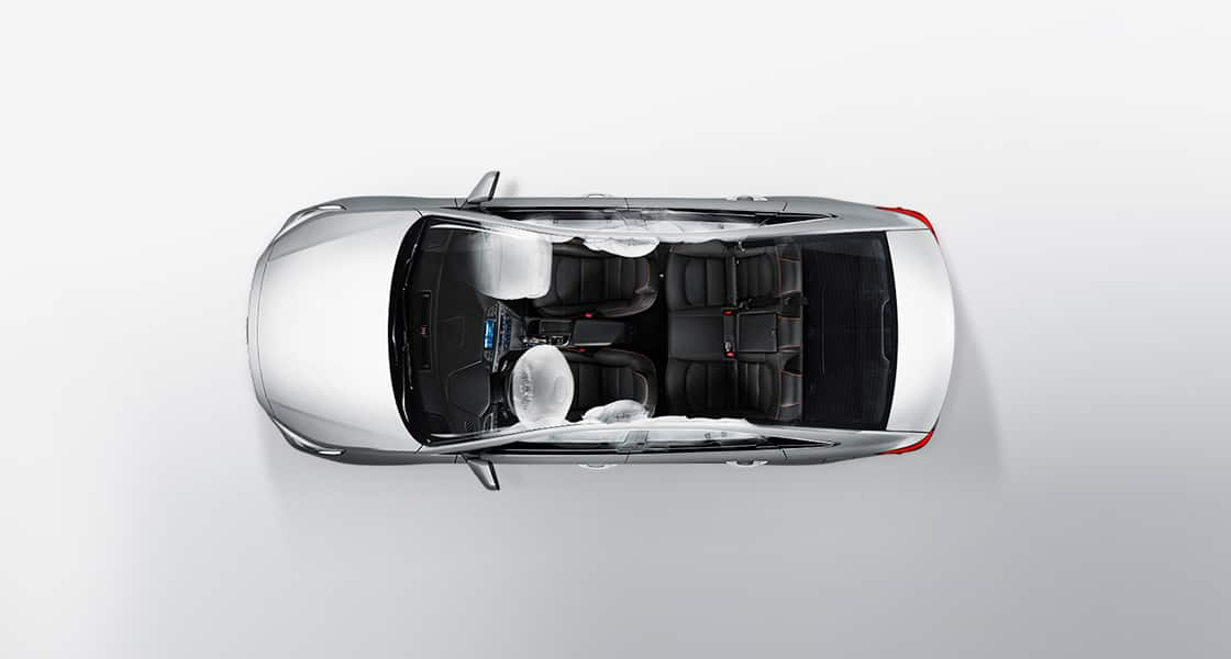 Top view of silver Sonata Turbo with 6-airbag system simulate