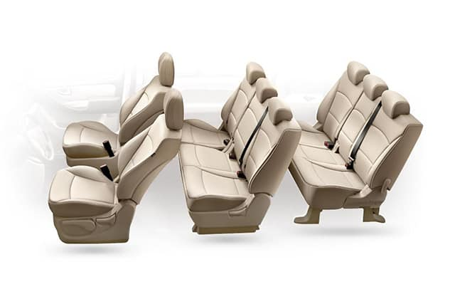 Eight beige seats inside H-1