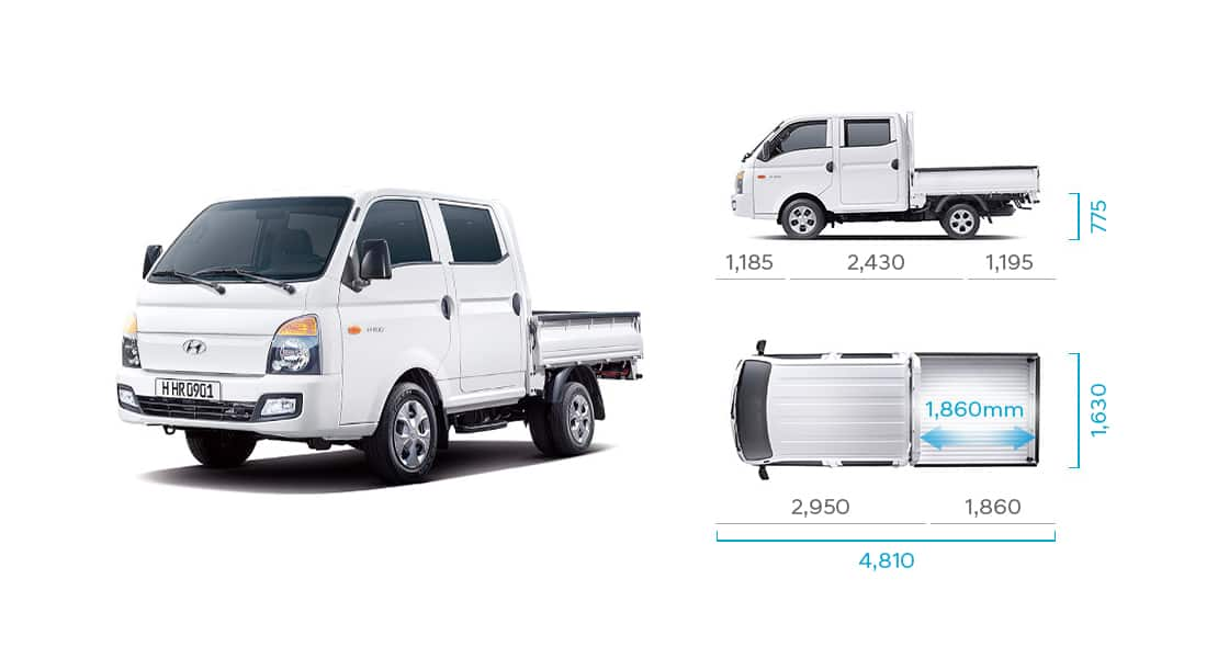 H-100's side and top view illustration with those size describing long wheel base double cab (low type rear deck)