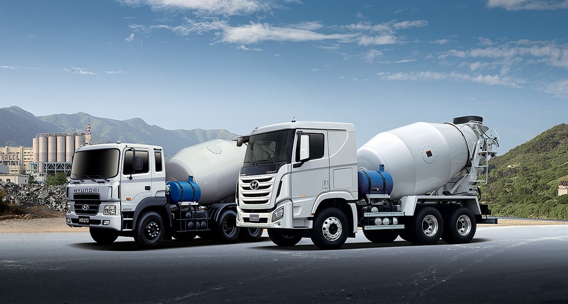 front view of xcient 7m3 mixer truck