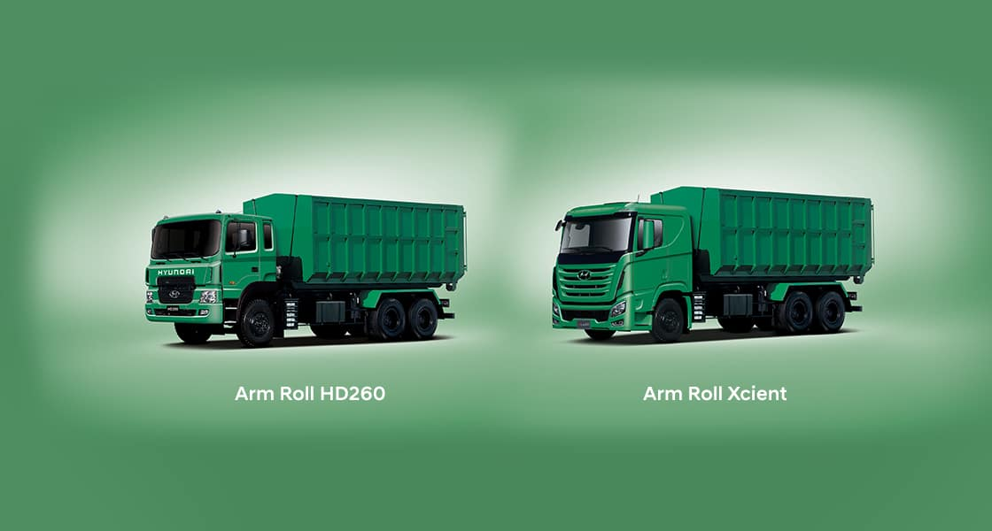 images of HD65 arm roll truck and xcient arm roll truck