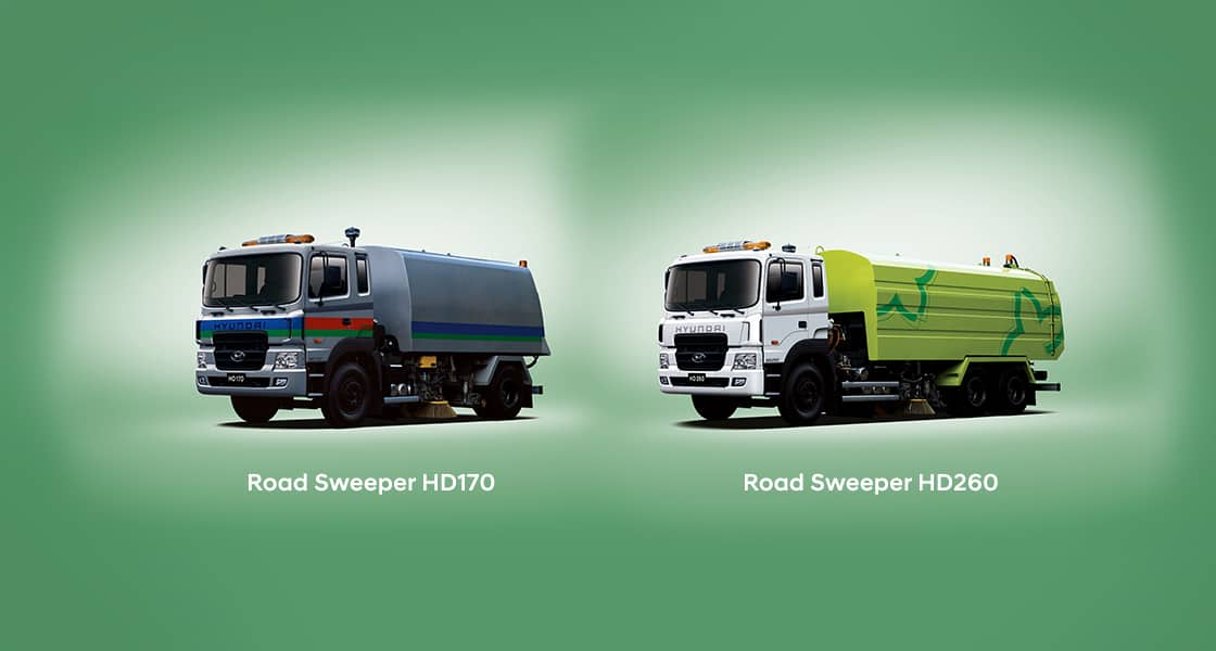 HD170 blue road sweeper and HD260 green road sweeper