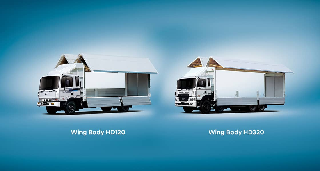 2 wing body trucks are opening their doors - HD120 and xcient 6x4 wing body truck