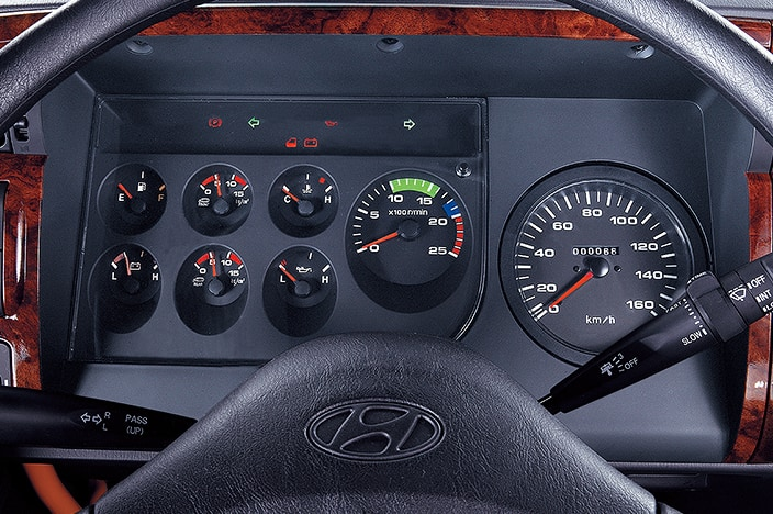 cluster with speedometer, rpm and several gauges