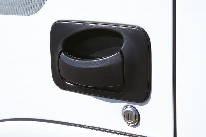 image focused on black door handle