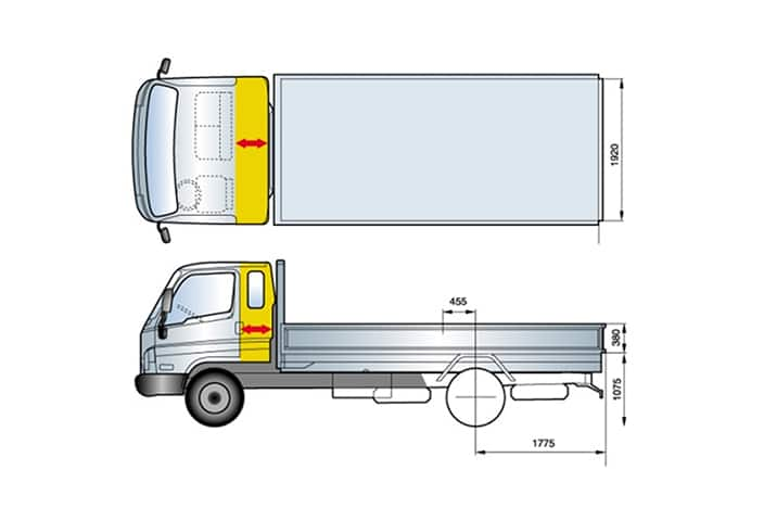 illustration of super cab increased by 300mm