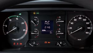 front image of cluster with speedometer, RPM, and several gauges