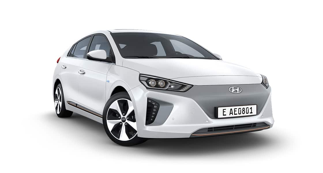 Right side front view of white Ioniq Electric