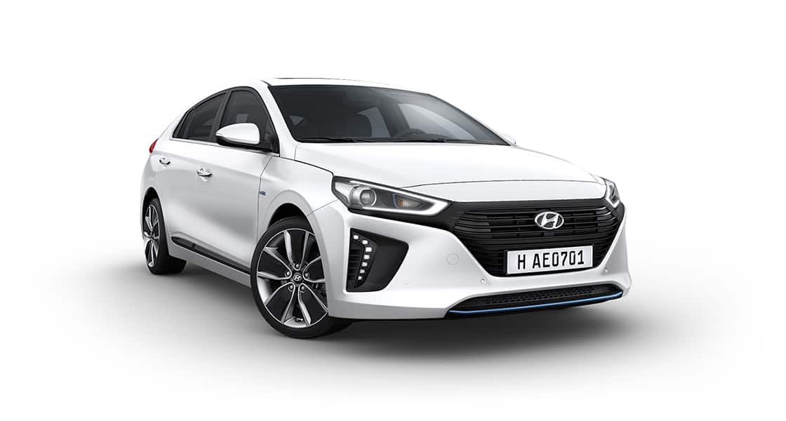 Front side view of white Ioniq Hybrid