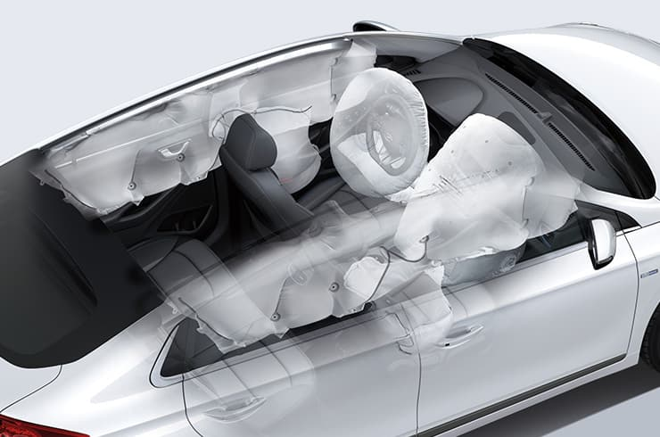 7-airbag system simulated