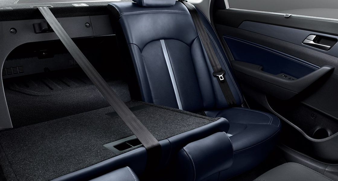 Rear seats with right rear seat folded