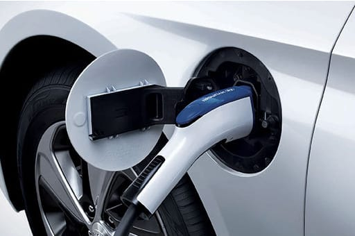 Closer view of Sonata plug-in hybrid getting charged through charging port