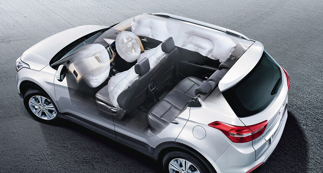 Side top view of white Creta with see-throughable doors and sunroof to show the interior