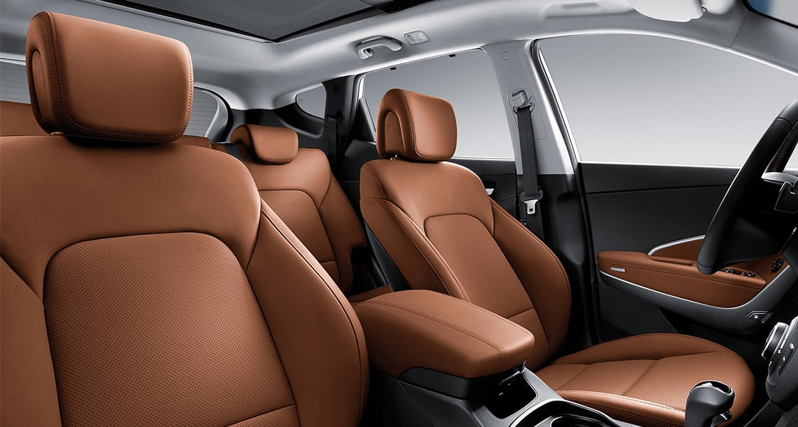 Orange brown color seats interior