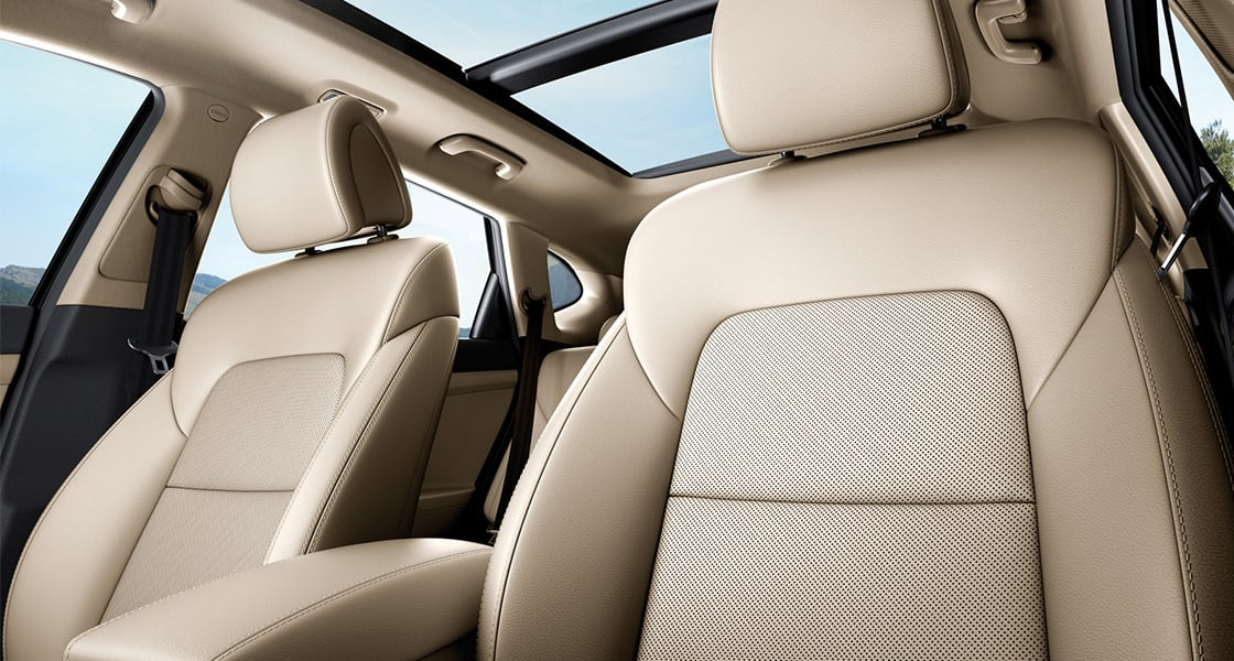 Beige color interior of front seats