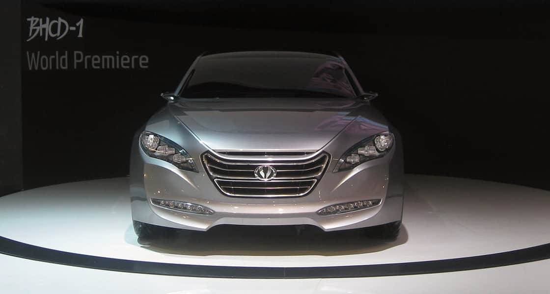 Front view of a silver sedan of hyundai motors on the show stage at 2011 Guangzhou International Motorshow