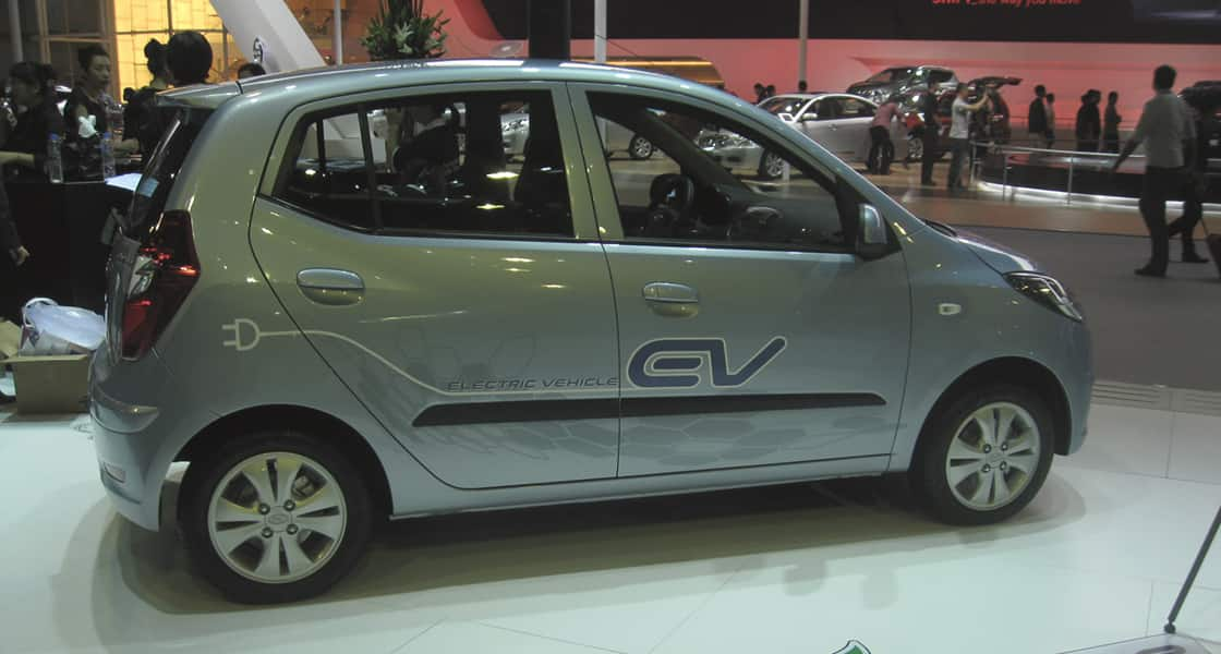 A side view of electronic vehicle on the show stage at 2011 Guangzhou International Motorshow