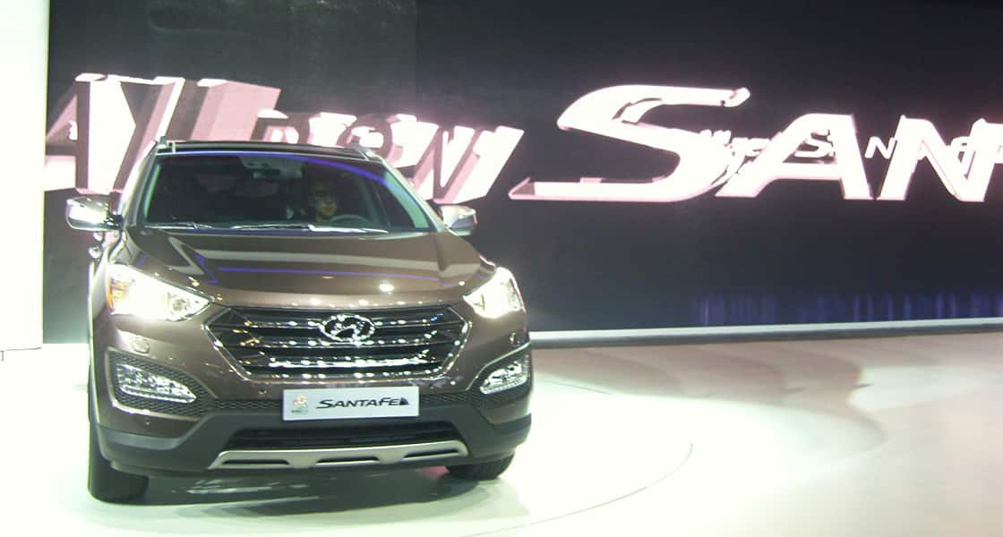 Front View of brown Santafe exhibited at the 2012 Beijing motorshow