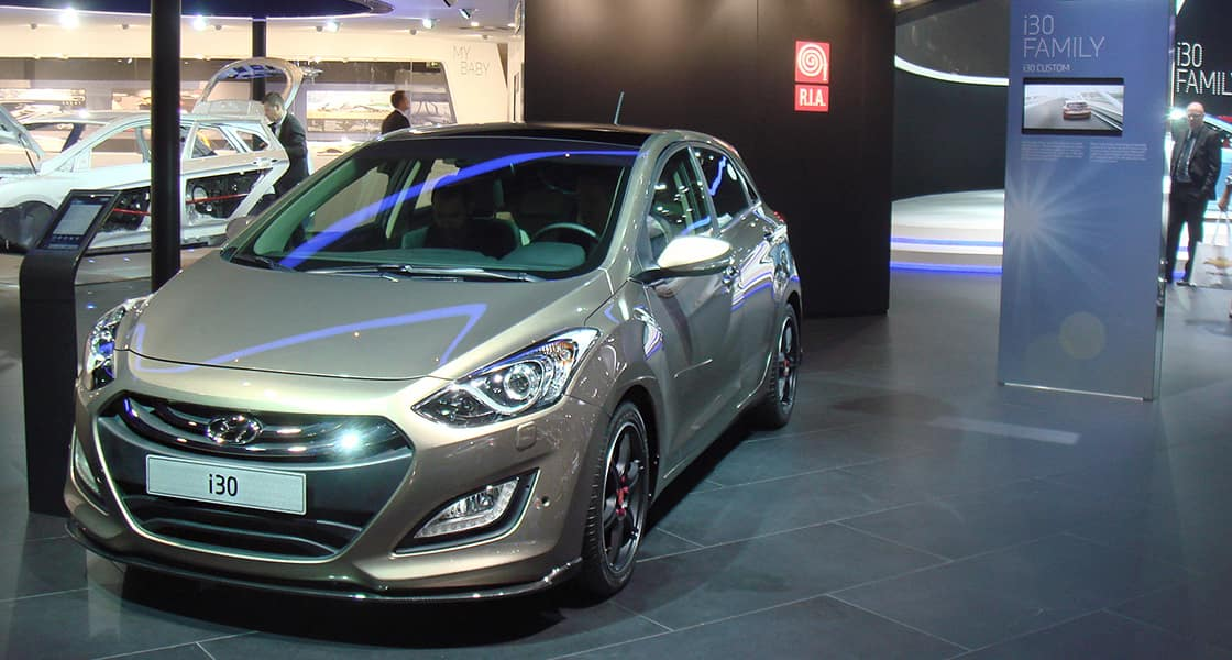 Front View of light brown i30 exhibited at the 2012 Paris motorshow