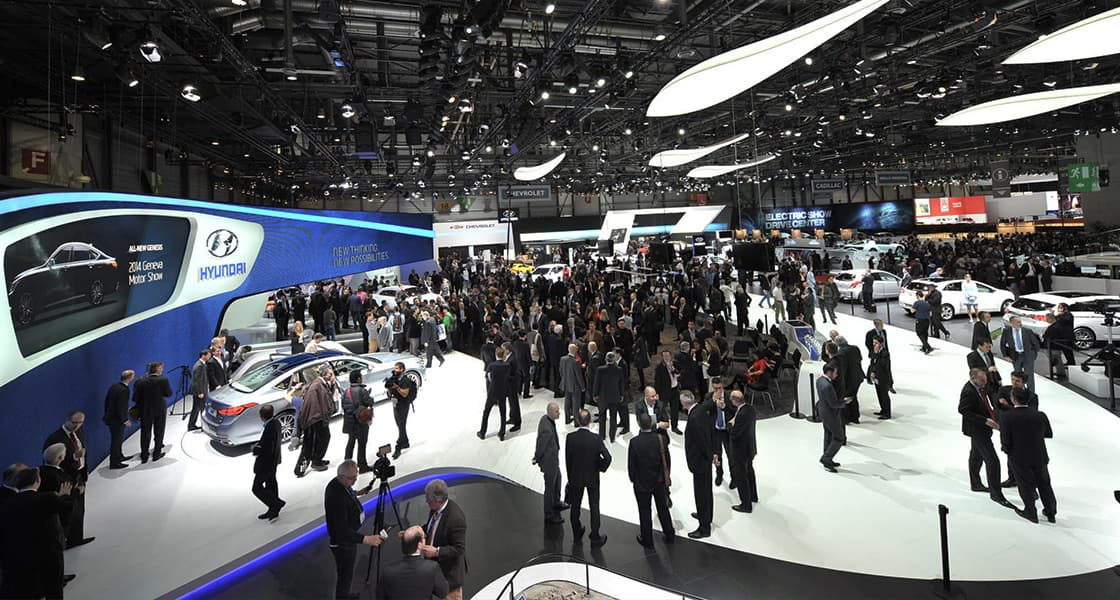 Top view of a crowd gathered  exhibited at the 2014 Geneva motorshow