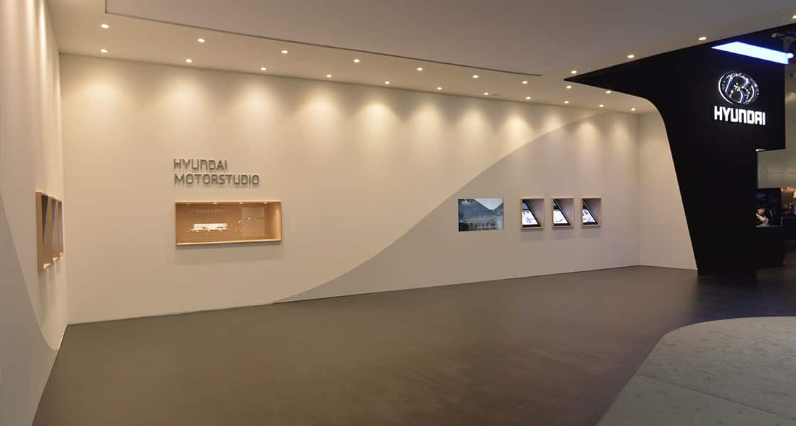 The exhibition wall about HYUNDAI MOTORSTUDIO exhibited at the 2014 Moscow motorshow