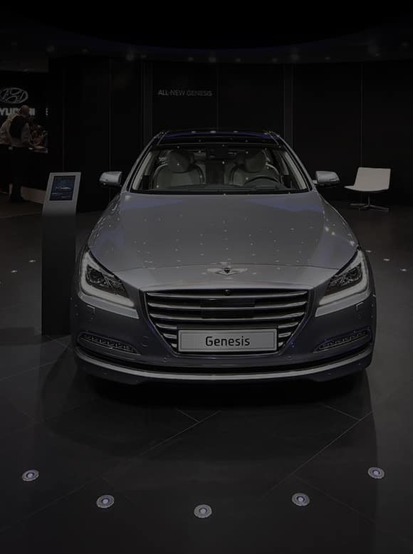 Front View of gray Genesis exhibited at the 2014 Paris motorshow