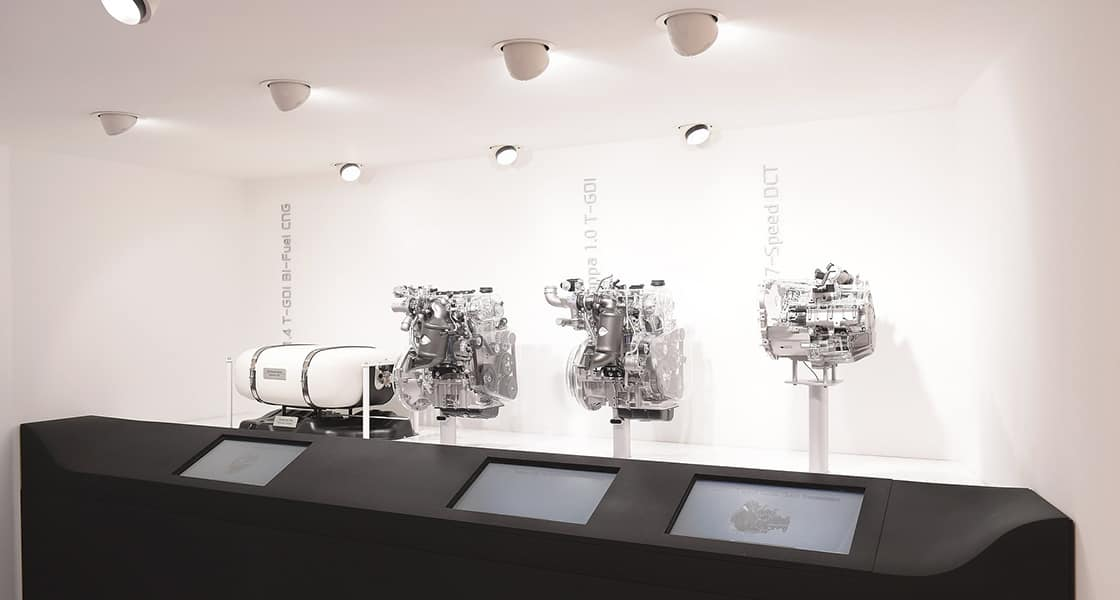 The power trains exhibited on the wall
