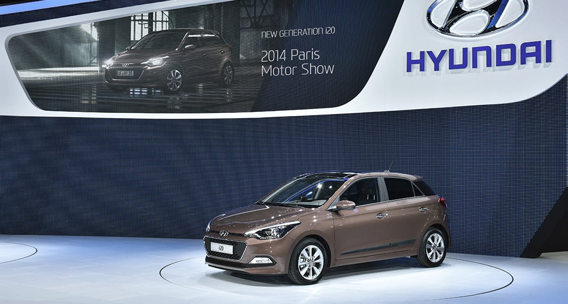 Left side-front view of brown i20 exhibited at the 2014 Paris motorshow