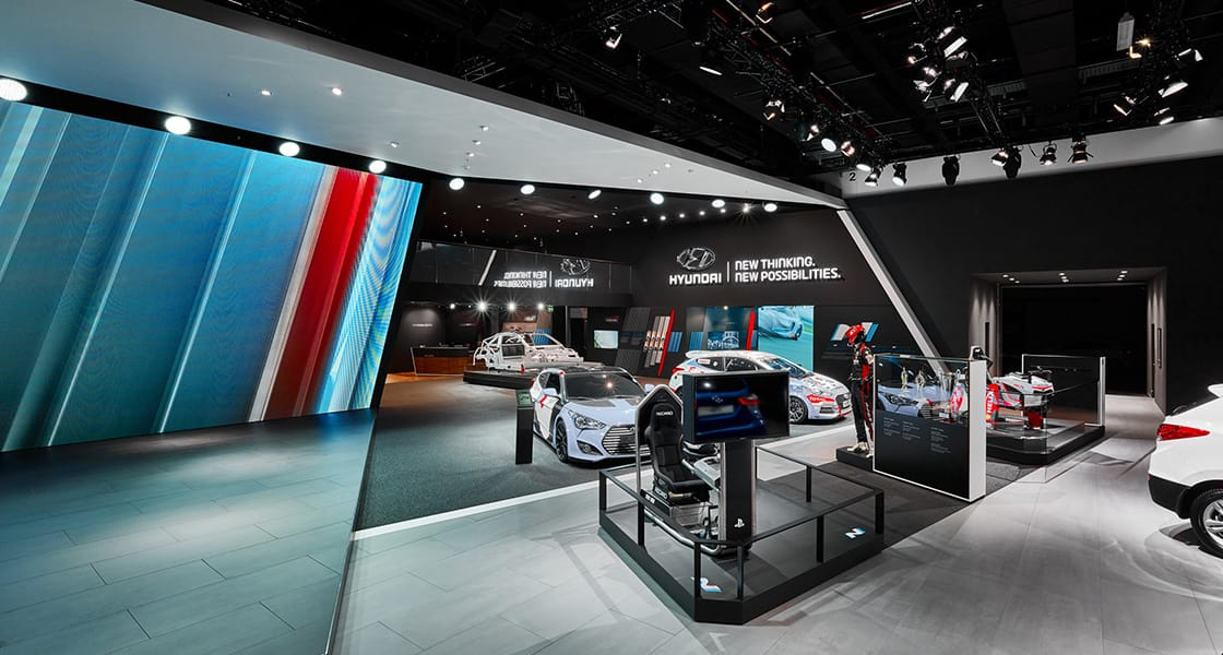 Panoramic view of i20 WRC exhibition area