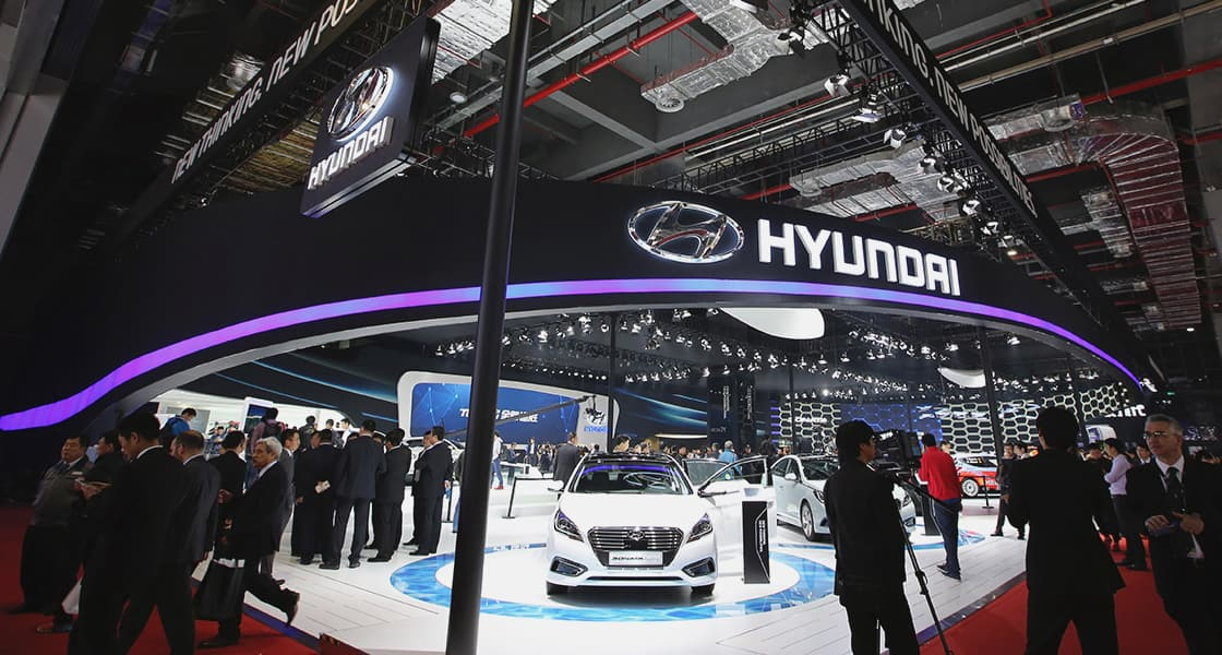 Panoramic view of the exhibition area with Hyundai logo