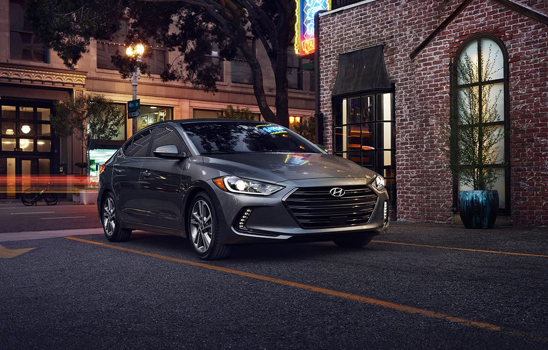 Right side-front view of dark gray The all-new Elantra