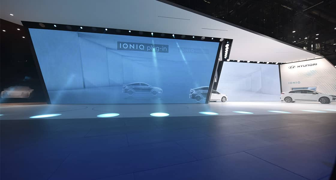 The exhibition screen about IONIQ plug-in exhibited at the 2016 Geneva motorshow