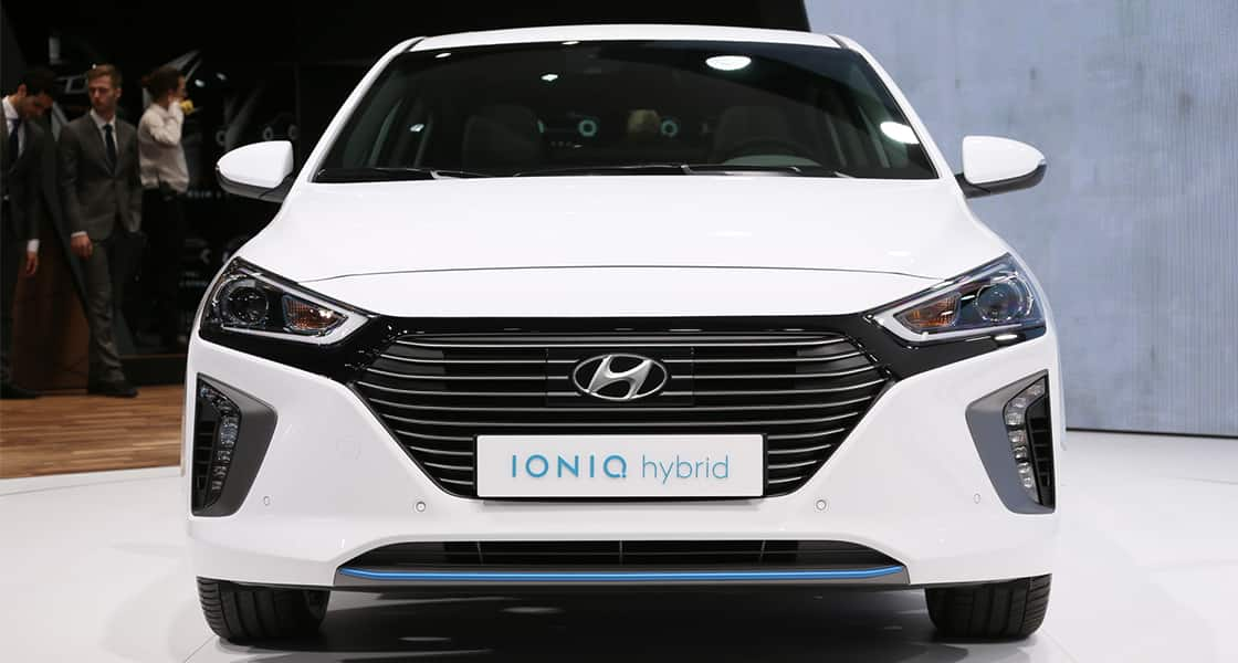Front view of white IONIQ hybrid exhibited at the 2016 Geneva motorshow
