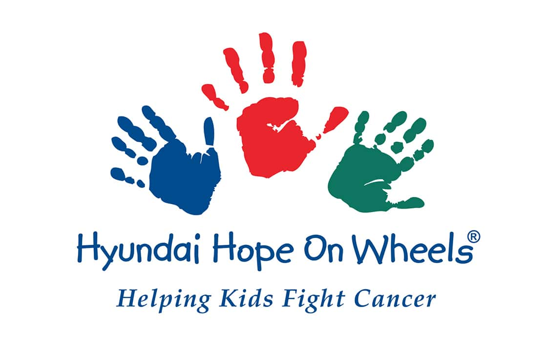 'Hyundai Hope On wheels'-'Helping kids Fight Cancer' on the banner