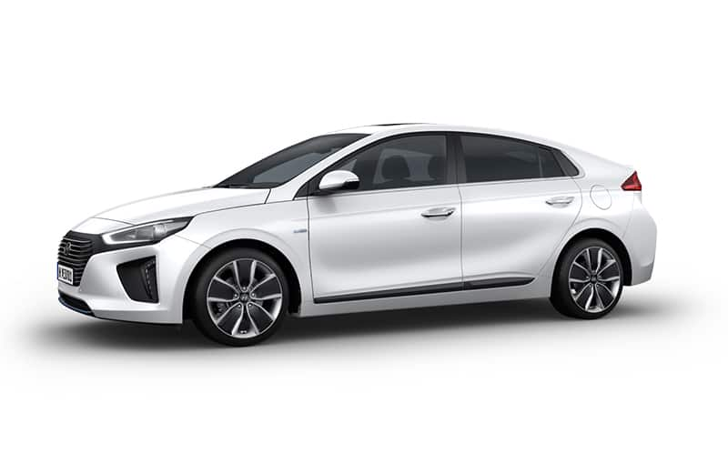 Side view of white Ioniq