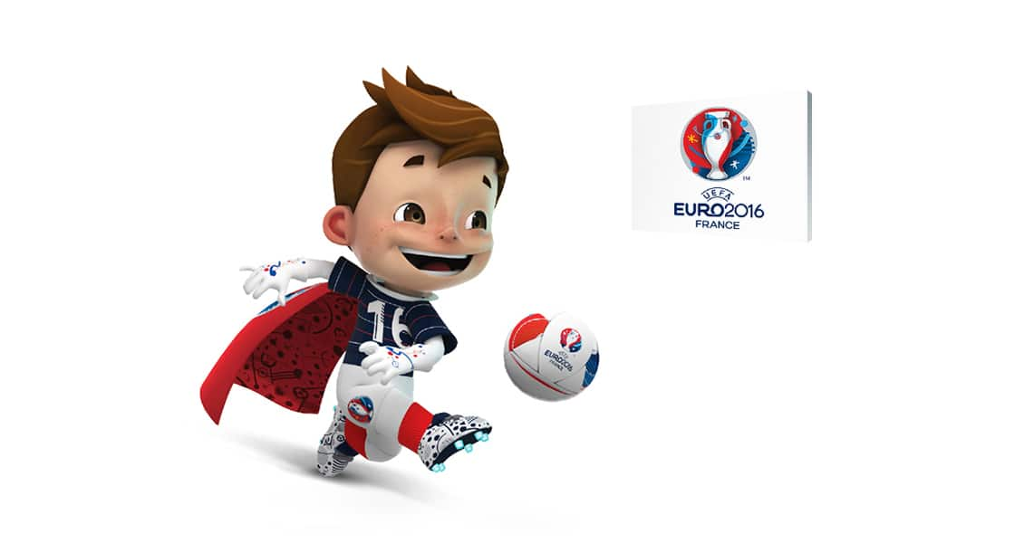 The mascot of uefa euro 2016, Super Victor is kicking a soccer ball