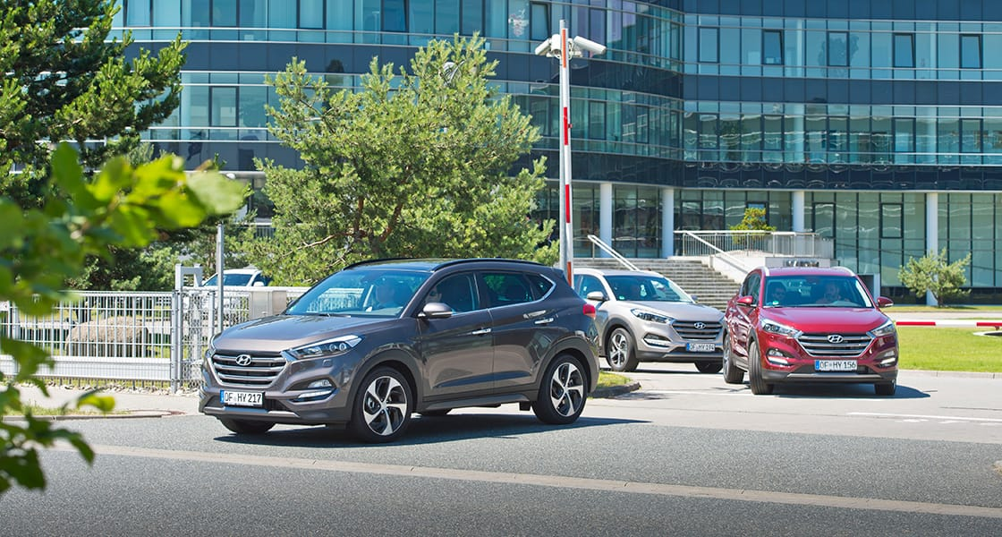 All New Tucson driving out of test-drive parking lot