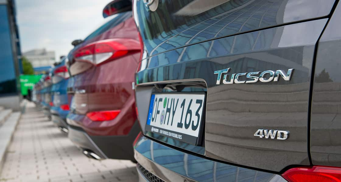 Closer view of Tucson mark on the rear