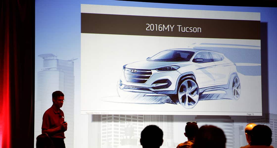 A presenter showing about 2016 My Tucson