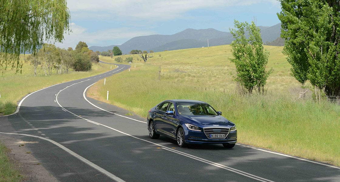 Right side-front view of navy genesis on the road with the field beside